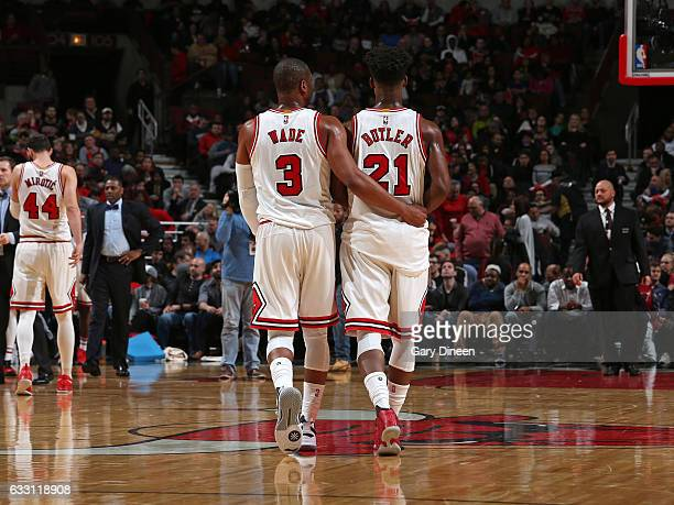 Dwyane Wade and Jimmy Butler of the Chicago Bulls are seen during the game against the Philadelphia 76ers on January 29 2017 at the United Center in...