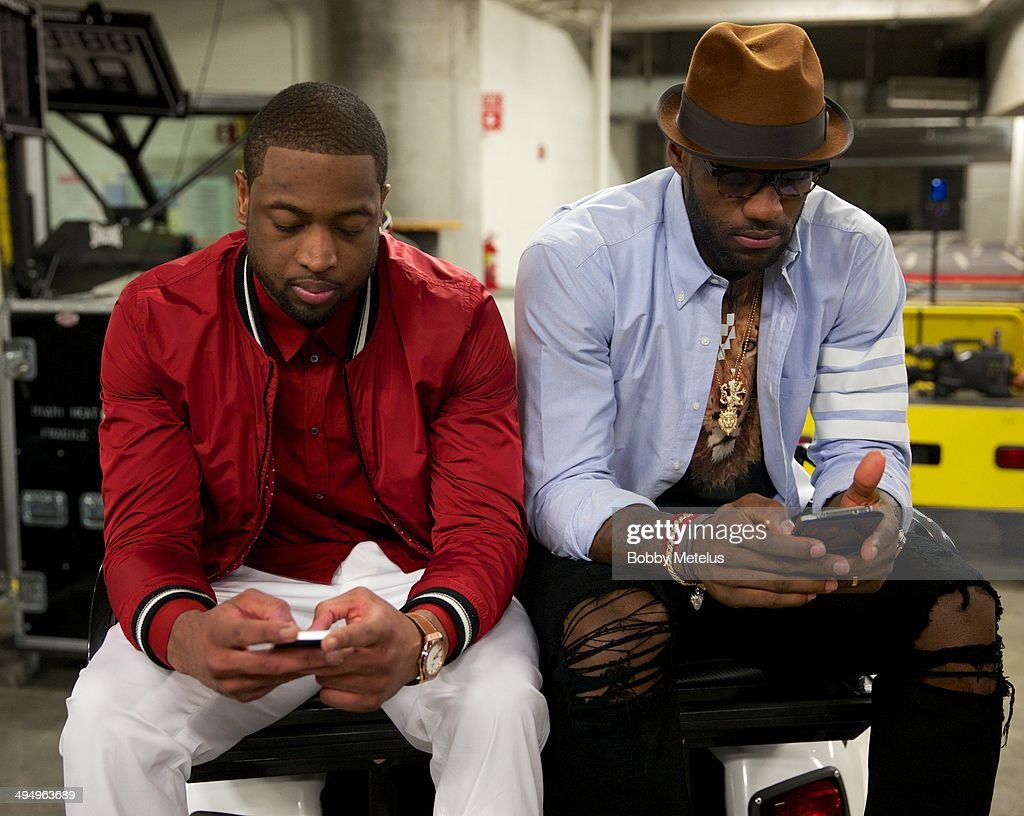 LeBron James and Dwyane Wade At American Airlines Arena : News Photo