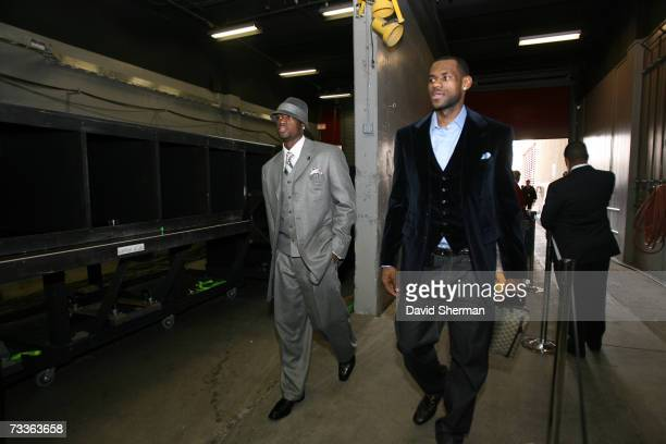 Dwyane Wade and LeBron James of the Eastern Conference All-Star team arrives prior to the 2007 NBA All-Star Game on February 18, 2007 at the Thomas &...