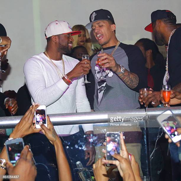 Dwyane Wade and Michael Beasley attend Dwyane Wade's Birthday Celebration at Velvet Room on January 19 2014 in Chamblee Georgia