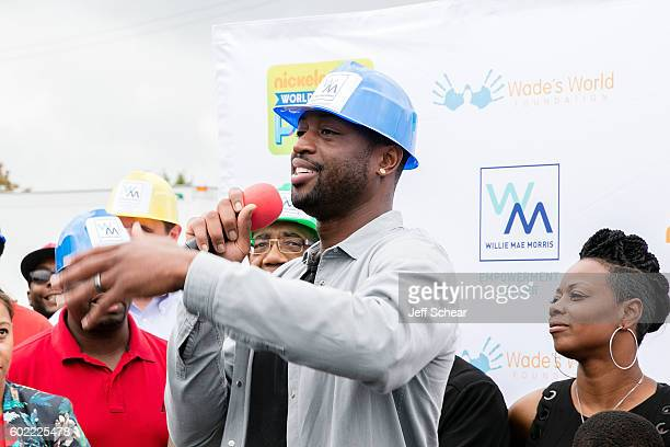 Dwyane Wade and Tragil Wade attend Nickelodeon's Road To Worldwide Day of Play With Dwyane Wade at Willie Mae Morris Empowerment Center on September...