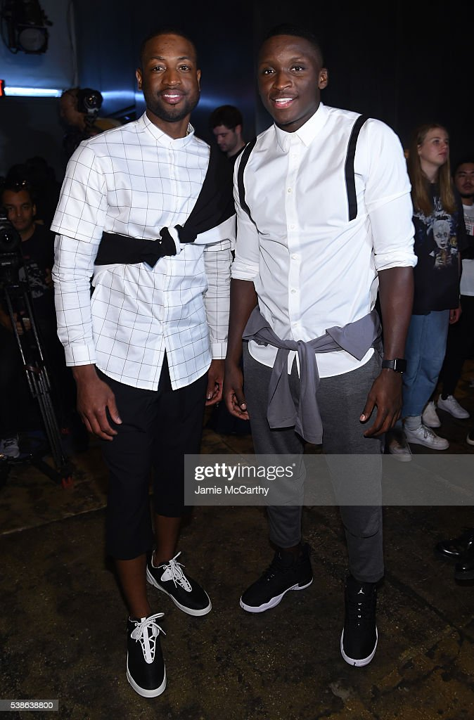 Dwayne Wade and Victor Oladipo attend Public School's Women's And Men's Spring 2017 Collection Runway Show at Cedar Lake on June 7, 2016 in New York City.