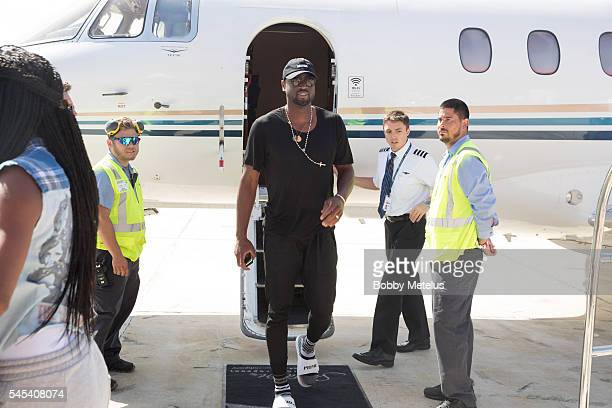 Dwyane Wade arrives in Miami after his decision to leave the Miami Heat at OpaLocka Executive Airport on July 7 2016 in Miami Florida