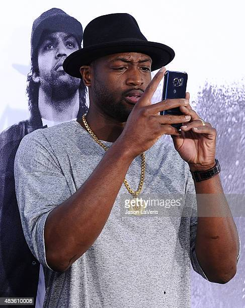 Dwyane Wade attends the premiere of Straight Outta Compton at Microsoft Theater on August 10 2015 in Los Angeles California