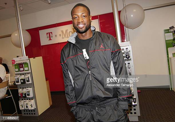Dwyane Wade attends the TMobile celebration of the partnership with Miami Heat with Tip Off Tuesdays and Meet Greet with Dwyane Wade at TMobile Store...