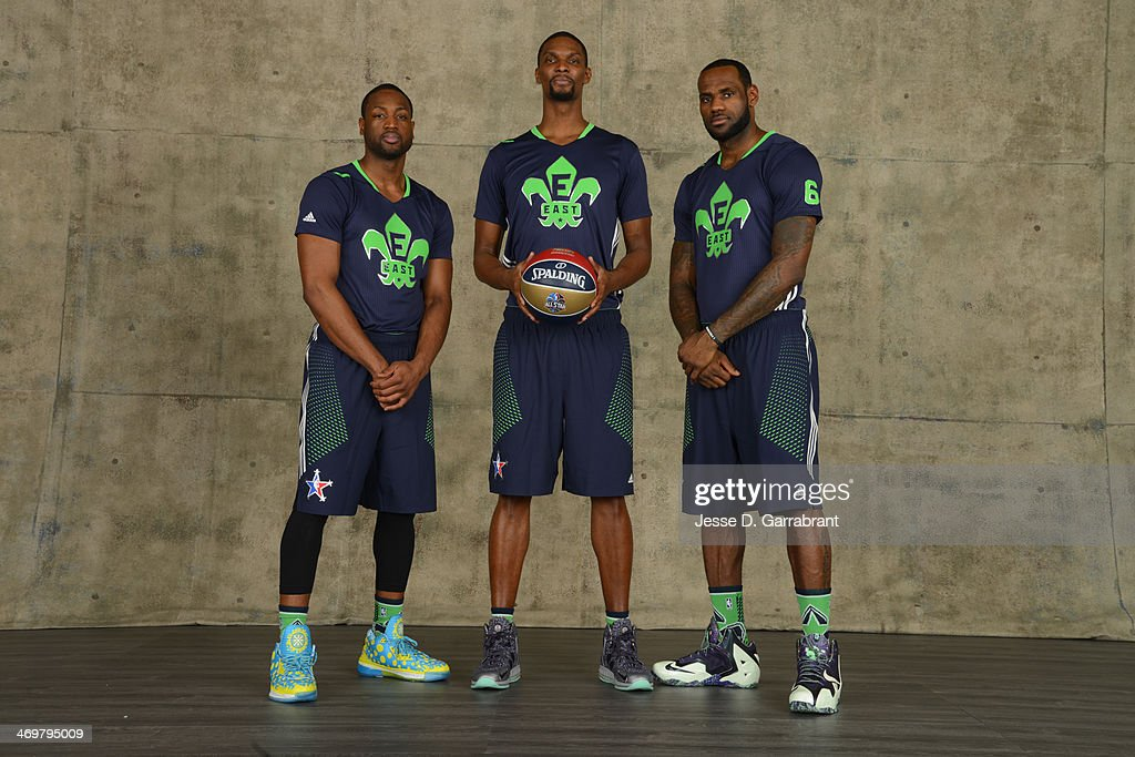Dwyane Wade #3, Chris Bosh #1 and LeBron James #6 of the Eastern Conference All-Stars pose for a portrait prior to the of the 2014 NBA All-Star Game on February 16, 2014 at the Smoothie King Center in New Orleans, Louisiana.