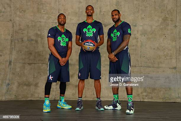 Dwyane Wade Chris Bosh and LeBron James of the Eastern Conference AllStars pose for a portrait prior to the of the 2014 NBA AllStar Game on February...