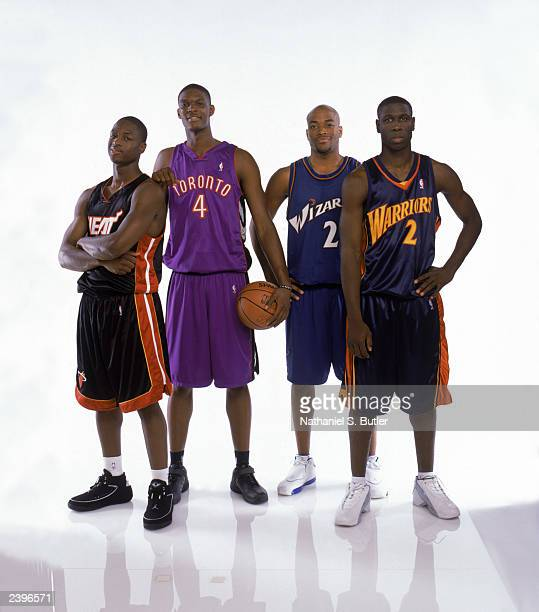 Dwyane Wade, Chris Bosh, Jarvis Hayes and Michael Pietrus pose for a portrait during the 2003 NBA Rookie Shoot at the Madison Square Garden training...