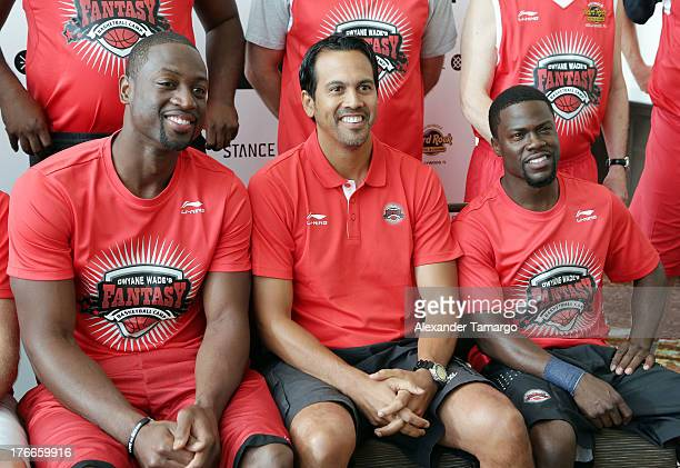 Dwyane Wade Erik Spoelstra and Kevin Hart attend Dwyane Wade's Third Annual Fantasy Basketball Camp at Westin Diplomat on August 16 2013 in Hollywood...
