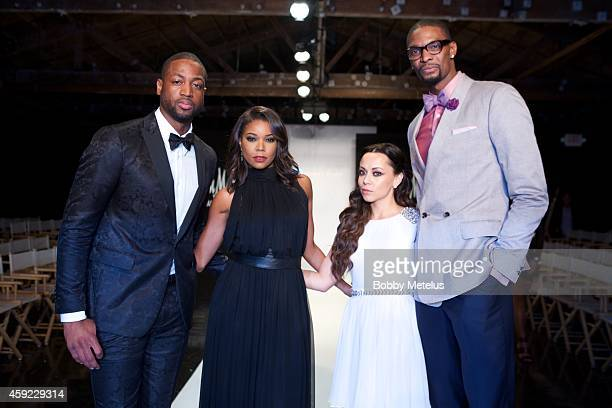 Dwyane Wade Gabrielle Union Adrienne Bosh and Chris Bosh attends 'A Night On The Runwade' fundrasing event at Ice Palace Film Studios on November 18...