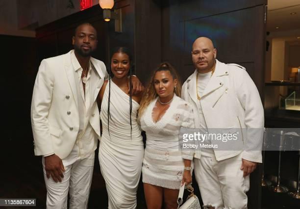 Dwyane Wade Gabrielle UnionWade Lorena Cartagena and Fat Joe attend Dwyane Wade's 16 Year NBA Career Celebration Dinner on April 8 2019 in Miami...