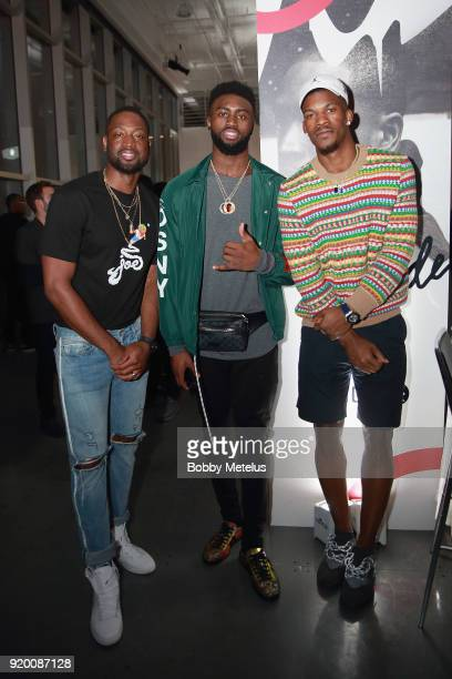 Dwyane Wade Jalen Brown and Jimmy Butler are seen at Stance Spades Tournament during NBA AllStar Weekend on February 18 2018 in Los Angeles California