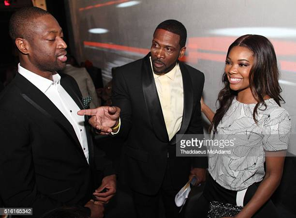 Dwyane Wade Jr Gabrielle Union and Dwyane Wade Sr attend the ProPops Foundations 10th Anniversary Fundraiser hosted by CEO and founder Dwyane Wade Sr...