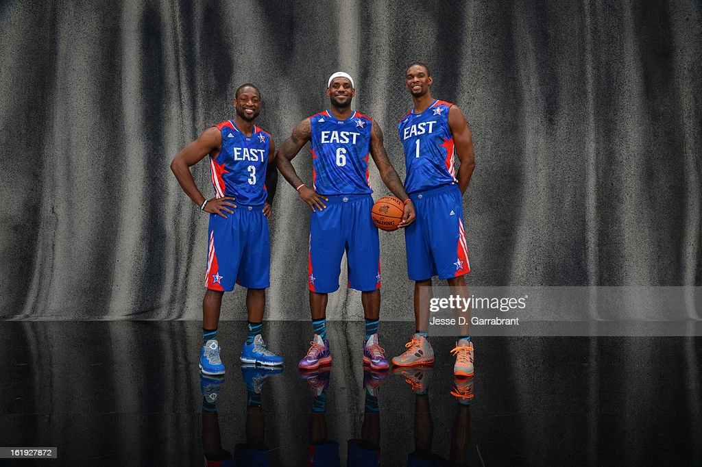 Dwyane Wade #3, LeBron James #6, and Chris Bosh #1 of the Eastern Conference All-Stars poses for portraits prior to the 2013 NBA All-Star Game at Toyota Center on February 17, 2013 in Houston, Texas.