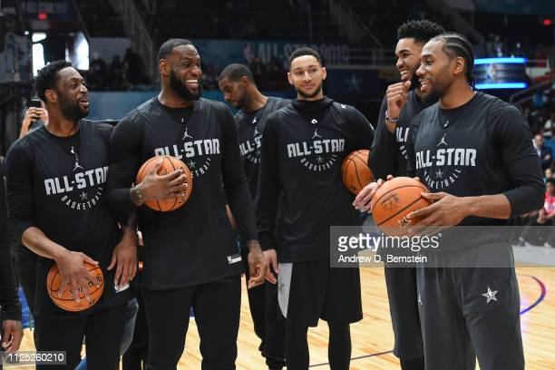 Dwyane Wade LeBron James Ben Simmons KarlAnthony Towns and Kawhi Leonard of Team LeBron smile and laugh during the 2019 NBA AllStar Practice and...