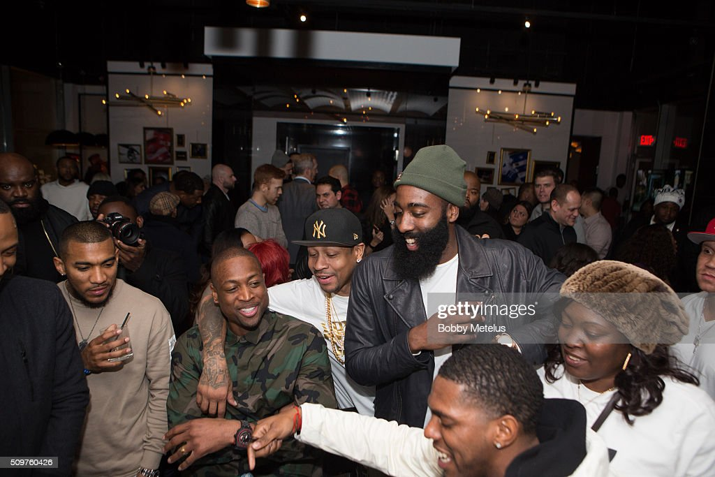 Dwyane Wade, NBA Great Allen Iverson and James Harden share a moment during the Dwyane Wade and Stance Stocks Spades Tournament at The One Eighty on February 11, 2016 in Toronto, Canada.
