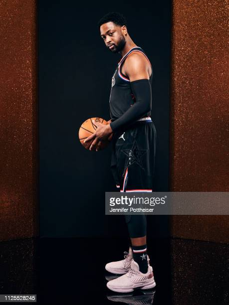 Dwyane Wade of Team LeBron poses for a portrait before the 2019 NBA AllStar game on February 17 2019 at the Spectrum Center in Charlotte North...