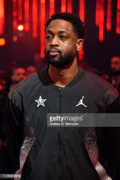 Dwyane Wade of Team LeBron stands for the National Anthem before the 2019 NBA AllStar Game on February 17 2019 at the Spectrum Center in Charlotte...