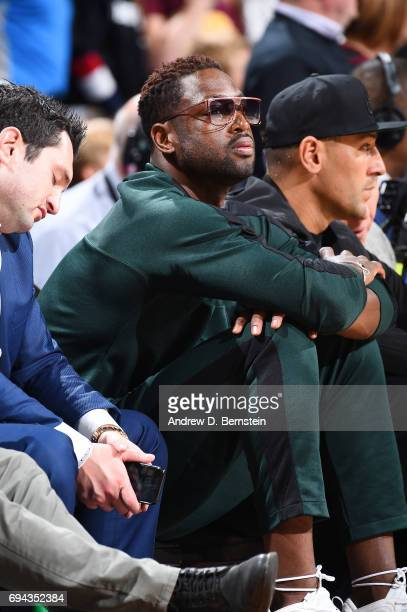 Dwyane Wade of the Chicago Bulls attends Game Four of the 2017 NBA Finals on June 9 2017 at Quicken Loans Arena in Cleveland Ohio NOTE TO USER User...