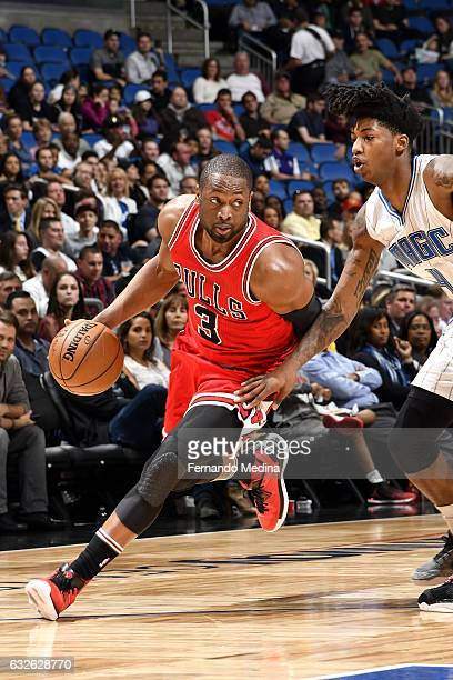 Dwyane Wade of the Chicago Bulls drives to the basket during the game against the Orlando Magic on January 24 2017 at Amway Center in Orlando Florida...