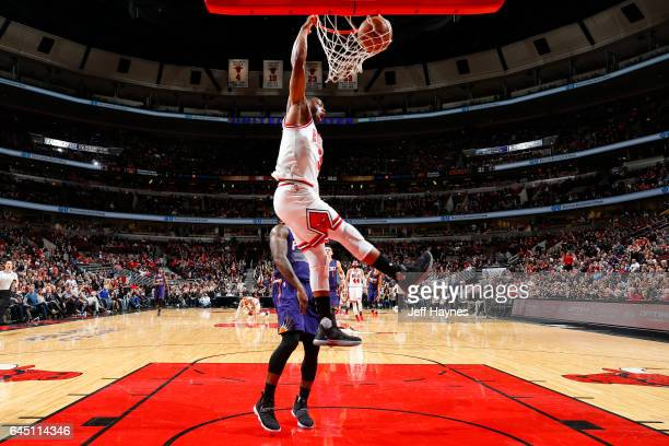 Dwyane Wade of the Chicago Bulls dunks against the Phoenix Suns during the game on February 24 2017 at the United Center in Chicago Illinois NOTE TO...