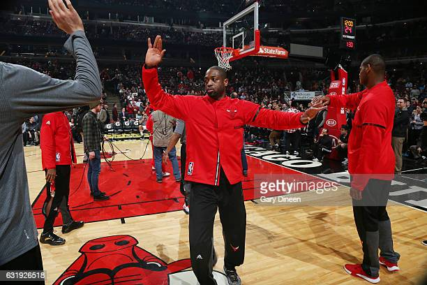 Dwyane Wade of the Chicago Bulls gets introduced before the game against the Dallas Mavericks on January 17 2017 at the United Center in Chicago...