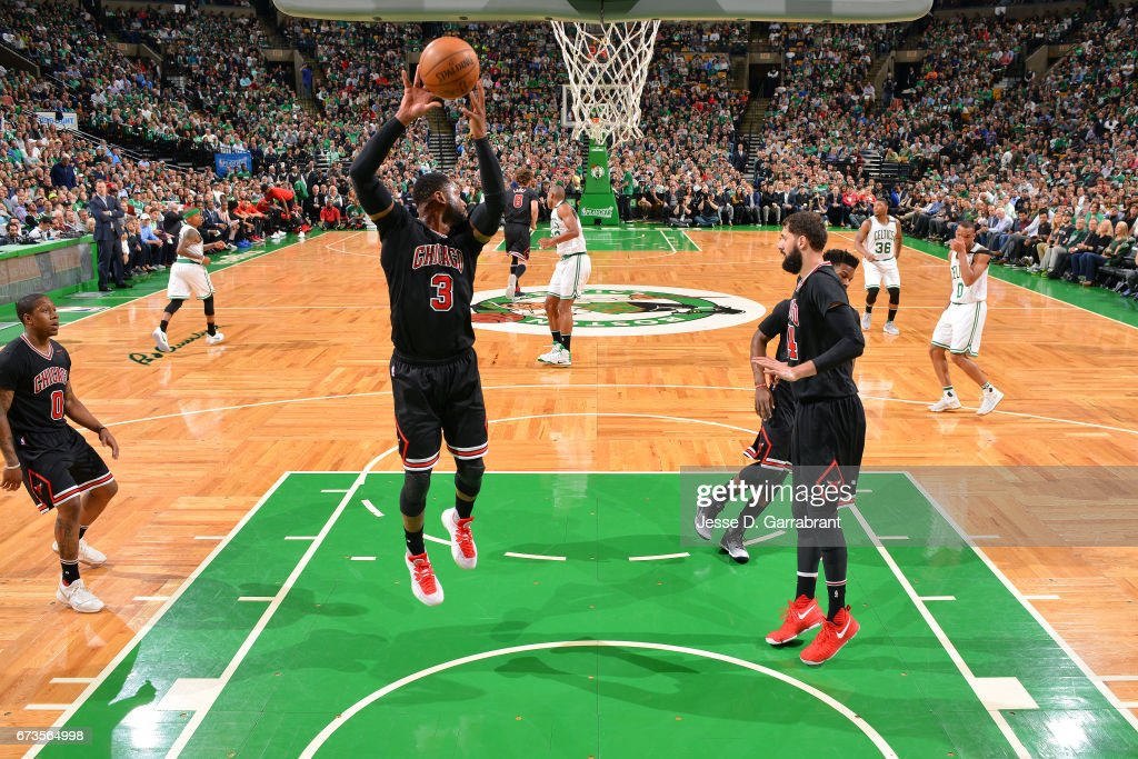Dwyane Wade of the Chicago Bulls gets the rebound during the game