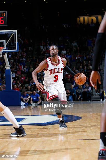 Dwyane Wade of the Chicago Bulls handles the ball against the Atlanta Hawks on October 20 2016 at CenturyLink Center in Omaha Nebraska NOTE TO USER...