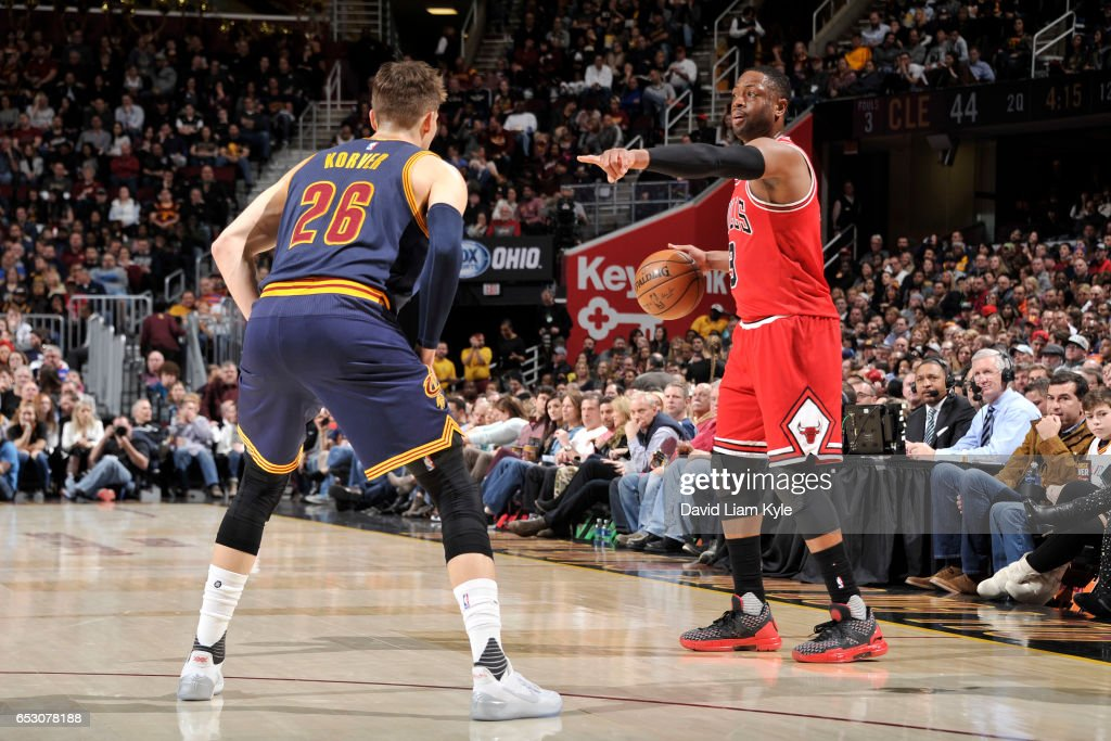Dwyane Wade #3 of the Chicago Bulls handles the ball against the Cleveland Cavaliers on February 25, 2017 at Quicken Loans Arena in Cleveland, Ohio.