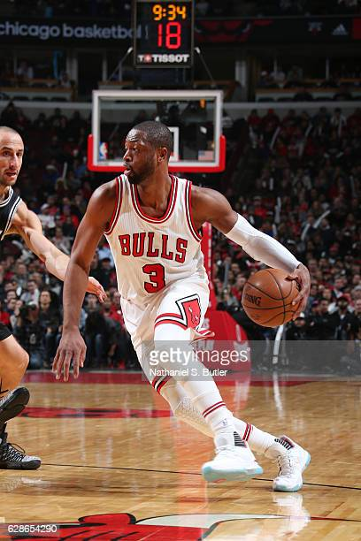 Dwyane Wade of the Chicago Bulls handles the ball during a game against the San Antonio Spurs at the United Center on December 8 2016 in Chicago...