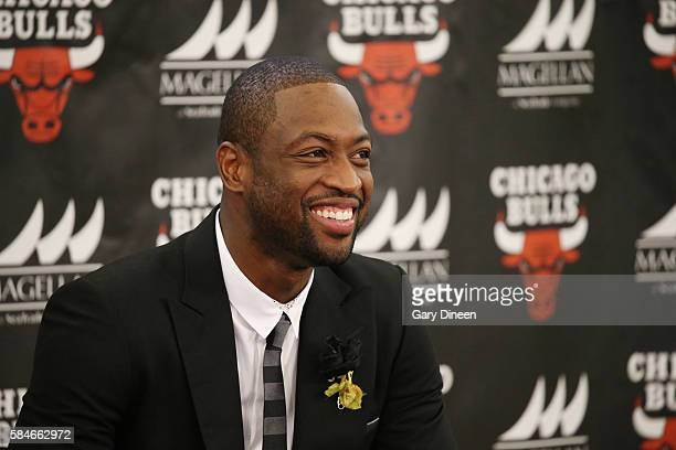 Dwyane Wade of the Chicago Bulls is introduced at a press conference on July 29 2016 at the Advocate Center in Chicago Illinois NOTE TO USER User...