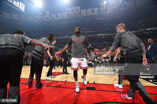 Dwyane Wade of the Chicago Bulls is introduced before the game against the Indiana Pacers on October 8 2016 at the United Center in Chicago Illinois...