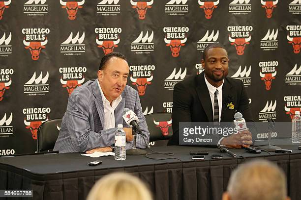 Dwyane Wade of the Chicago Bulls is introduced by Chicago Bulls general manager Gar Forman at a press conference on July 29 2016 at the Advocate...