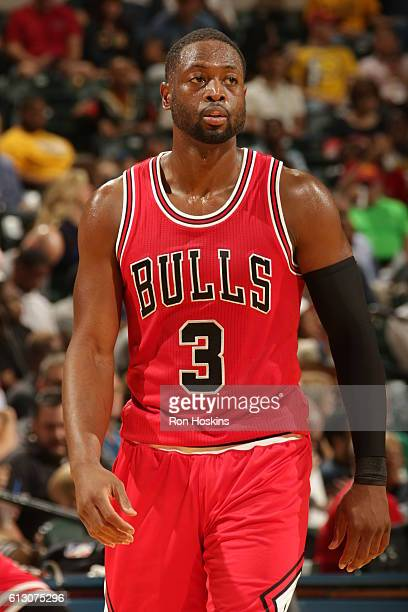Dwyane Wade of the Chicago Bulls looks on during the game against the Indiana Pacers during a preseason game on October 6 2016 at Bankers Life...