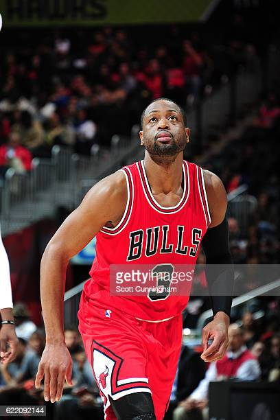 Dwyane Wade of the Chicago Bulls looks on during the game against the Atlanta Hawks on November 9 2016 at Philips Center in Atlanta Georgia NOTE TO...