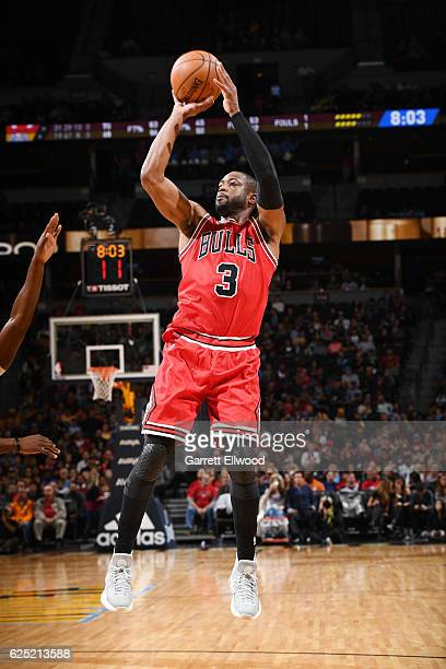 Dwyane Wade of the Chicago Bulls shoots the ball against the Denver Nuggets during the game on November 22 2016 at the Pepsi Center in Denver...