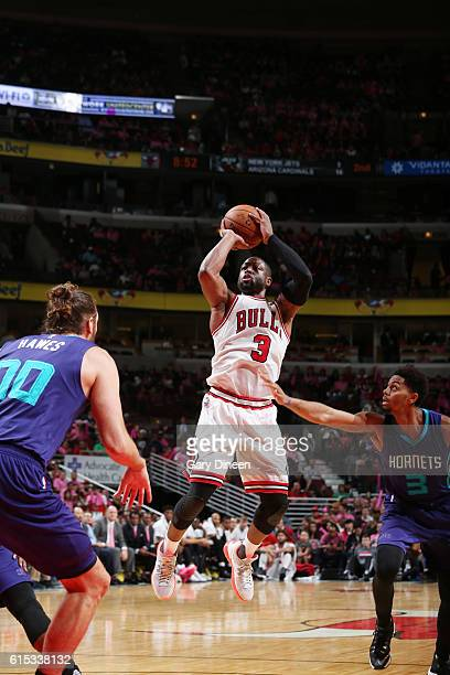 Dwyane Wade of the Chicago Bulls shoots the ball against the Charlotte Hornets on October 17 2016 at the United Center in Chicago Illinois NOTE TO...
