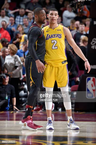 Dwyane Wade of the Cleveland Cavaliers and Lonzo Ball of the Los Angeles Lakers after the game on December 14 2017 at Quicken Loans Arena in...