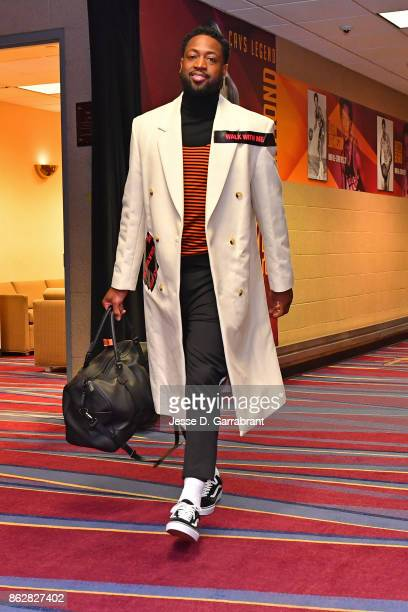 Dwyane Wade of the Cleveland Cavaliers arrives at the arena before the game against Boston Celtics on October 17 2017 at Quicken Loans Arena in...