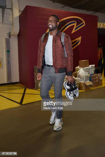 Dwyane Wade of the Cleveland Cavaliers arrives at the arena before the game against the Milwaukee Bucks on Novmber 7 2017 at Quicken Loans Arena in...