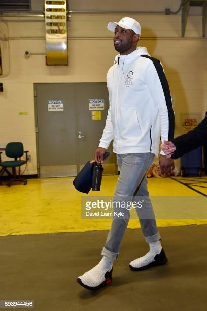 Dwyane Wade of the Cleveland Cavaliers arrives at the arena prior to the game against the Utah Jazz on December 16 2017 at Quicken Loans Arena in...