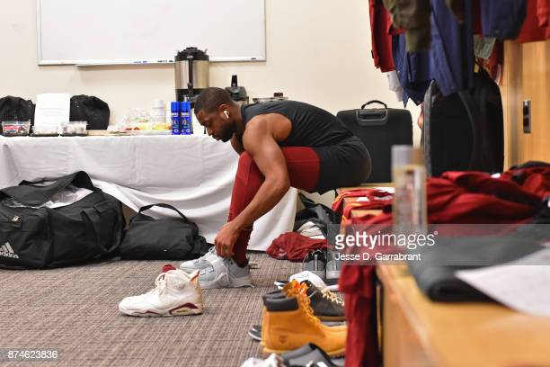 Dwyane Wade of the Cleveland Cavaliers gets ready before the game against the New York Knicks at Madison Square Garden on November 13 2017 in New...