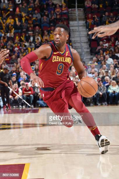 Dwyane Wade of the Cleveland Cavaliers handles the ball against the Indiana Pacers on November 1 2017 at Quicken Loans Arena in Cleveland Ohio NOTE...