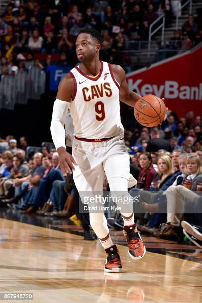 Dwyane Wade of the Cleveland Cavaliers handles the ball during the game against the New York Knicks on October 29 2017 at Quicken Loans Arena in...