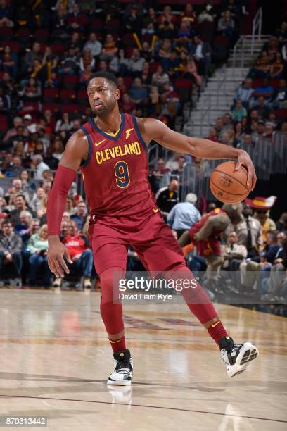Dwyane Wade of the Cleveland Cavaliers handles the ball during the game against the Indiana Pacers on November 1 2017 at Quicken Loans Arena in...