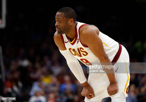 Dwyane Wade of the Cleveland Cavaliers looks on against the Orlando Magic at Quicken Loans Arena on January 18 2018 in Cleveland Ohio NOTE TO USER...