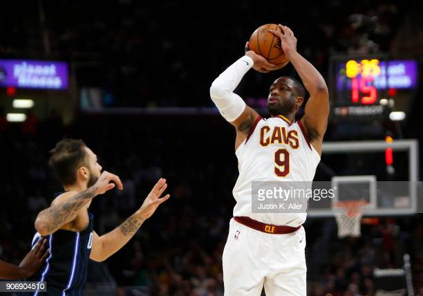 Dwyane Wade of the Cleveland Cavaliers pulls up for a shot against the Orlando Magic at Quicken Loans Arena on January 18 2018 in Cleveland Ohio NOTE...