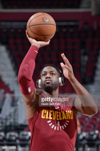 Dwyane Wade of the Cleveland Cavaliers shoots the ball before the game against the Indiana Pacers on November 1 2017 at Quicken Loans Arena in...