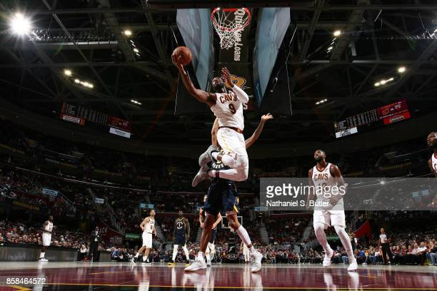 Dwyane Wade of the Cleveland Cavaliers shoots the ball during the preseason game against the Indiana Pacers on October 6 2017 at Quicken Loans Arena...