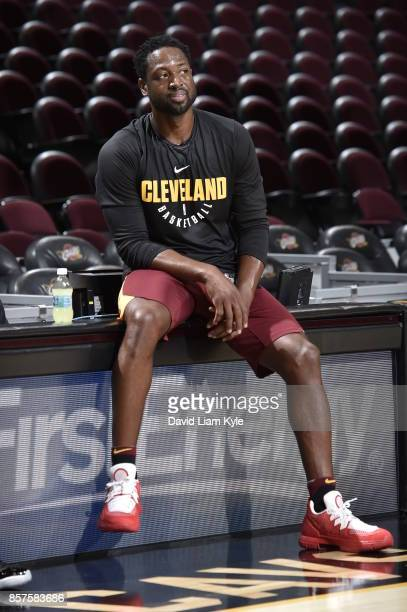 Dwyane Wade of the Cleveland Cavaliers smiles before the open practice on October 2 2017 at Quicken Loans Arena in Cleveland Ohio NOTE TO USER User...